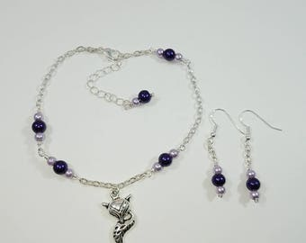 Vixen Hotwife Anklet, Initial Jewelry, Purple Pearls, FREE Earrings, Personalized Jewelry, Sexy Anklets, Swinger Jewelry, Kinky