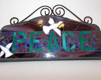 Stained Glass Mosaic Wall Art of PEACE and Doves