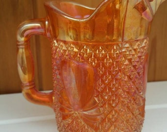 Art Deco Marigold carnival glass jug / creamer / gift stunning/ships worldwide from UK