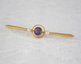 Antique 15ct Gold Bar Brooch, Amethyst and Pearl Brooch, Victorian Amethyst Brooch, Edwardian Pearl Brooch