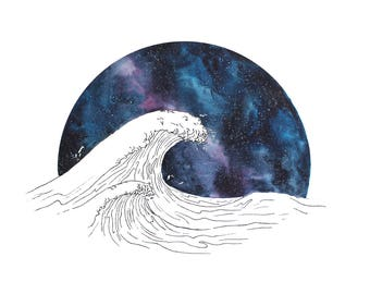 Night sky, Wave print, limited ONLY ONE LEFT. Watercolor Painting, Ocean, Galaxy art print