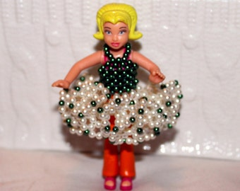 White and green beaded dress for doll in pearl(comes with doll);colorful, dancing, handmade, beadweaving, Art&collectibles, Dolls-miniatures