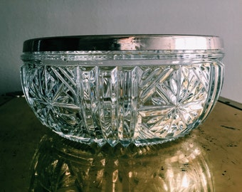 Vintage Cut-Glass Serving Bowl w/ Silver-Plated Rim