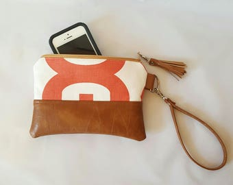 Coral and Tan Wristlet Wallet, Brown Faux Leather, Wristlet Purse, Womens Wallet, Phone Wallet, Clutch, Birthday Gift, Birthday Gift
