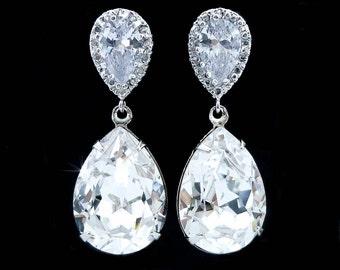 Handmade Swarovski Clear Teardrop Dangle Bridal Earrings, Bridal, Wedding (Sparkle-2155)
