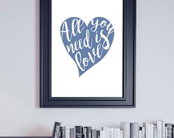 All You Need Is Love, Beatles Printable, Beatles Lyrics, Beatles Decor, Beatles Poster, John Lennon, Dorm Decor, Musician Gift