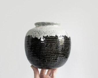 large vintage pottery vase / minimal ceramic pot / black & white drip glaze stoneware vessel / signed studio pottery