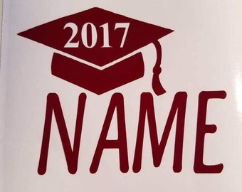 Graduation cap personalized with name decal.  Permanent decal.  Gift idea, apply to yeti & rtic cups, car windows, laptops.  For Graduates!