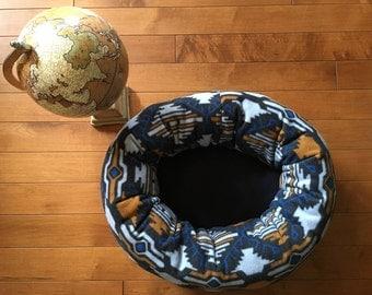 Aztec Navy Blue Pet Lounger, Animal Bed, Lavish Lounger, Cat Bed, Donut Cat Bed, Dog Bed, Small Dog Bed, Feline, Canine Bed