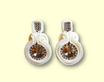 Earring/earrings/pendientes Soutache Swarovski Golden shadow