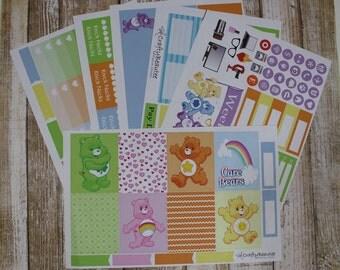Care Bears Weekly Kit - Planner Stickers - Erin Condren - Happy Planner - Vertical