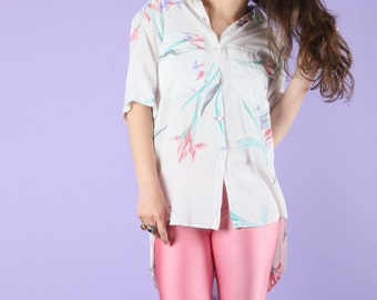 80s Vintage Country Road Lightweight Dip Hem Floral Shirt