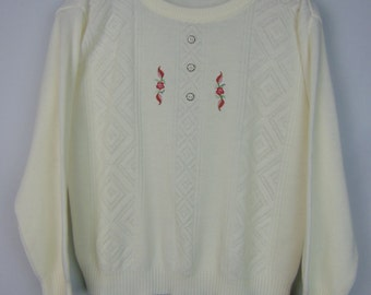 Vintage White Cropped Jumper