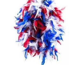 6' Red, White & Blue Feather Boa For 4th Of July, Memorial Weekend, patriotic, American Flag, Red White Blue,Picnic Supplies,
