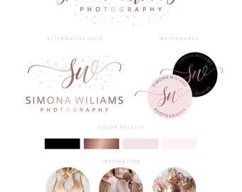 Branding Package, Branding Kit, Premade Logo, Watercolor Logo, Logo Design, Rose Gold Logo,Calligpaphy, Photography Logo, Wedding Logo