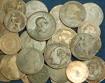 3 Pounds of Old Copper Coins - Some dates still readable back to 1800's - Often Used to Make Jewelry