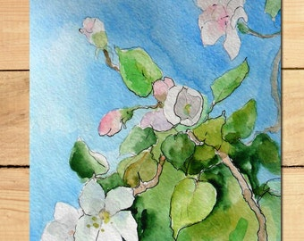 Apple blossom painting Original watercolor Valentine's gift Floral art Cherry blossom Greeting card handmade Flower spring watercolors