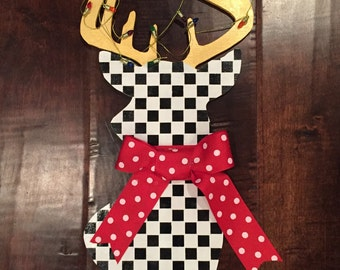 Christmas, deer head, black and white checks, gold, red bow, Christmas decor