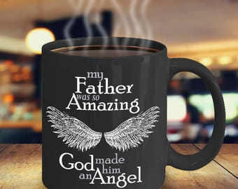 Father Guardian Angel Mug | Sympathy Mug | Bereavement Mug | Memorial Gift Mug | Grief Mug | Memorial Mug | Angel Wings | Remembrance Mug