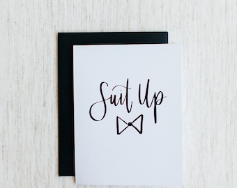 Suit Up - Calligraphy Foil Wedding Card