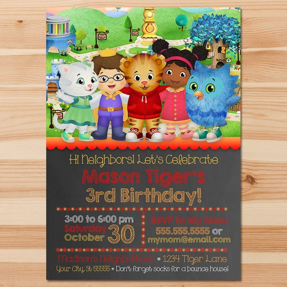 Daniel Tiger Birthday Invite - Red Chalkboard - Boy Daniel Tiger Invitation - Daniel Tiger Birthday Party - Daniel Tiger Party Printables