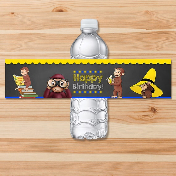 Curious George Birthday Drink Labels - Blue Chalkboard - Boy Curious George Water Bottle Label - Curious George Party Printables Boy Party