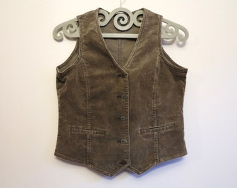 Light Brown Vest Corduroy Vest Womens Vest Fitted Stretchy Waistcoat Light Brown Waistcoat Medium Size
