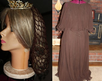 BEST PRICE! Renaissance 3-PIECE Costume, Romeo and Juliet, Gown, Tiara and Snood, Renaissance Royalty, 70s Dress