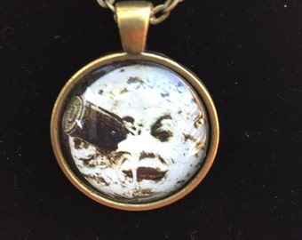 Georges Melies Necklace, A Trip To The Moon, Le Voyage Dans La Luna, Man in the Moon 1in Pendent