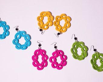 Crochet earrings, crochet earrings, Crochet, crochet, Handmade Jewelry, women accessories, unique jewel, hoop earrings, Fashion