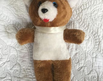 "Vintage 10"" Teddy Bear Brown with white belly - Ace Novelty Co. - Blue Eyes"