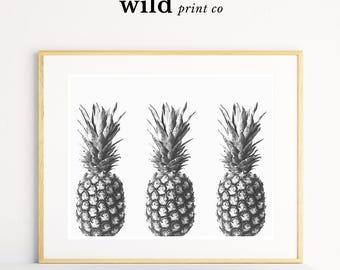 Pineapple Print, Tropical Wall Art, Fruit Print, Tropical Fruit Wall Art, Pineapple Decor, Kitchen Wall Decor, Black and White Prints