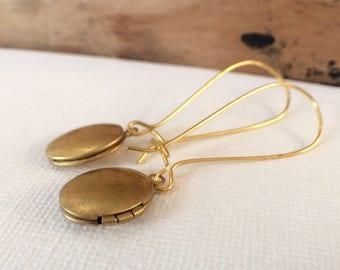 Locket Earrings, Oval Locket Earrings, Heart Locket Earrings, tiny locket Jewelry, Mini Locket, Long Gold Earrings, Photo Locket, Keepsake