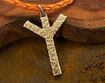 Oculta de runa Algiz colgante de plata, runas vikingas, pagano colgante, colgante antigua, Viking collares, colgante, colgante de plata oxidado, runas