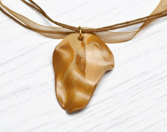 Gold pendant, polymer clay pendant, gold polymer clay necklace, gift for her