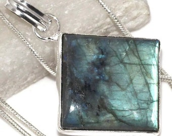 Fiery Labradorite Pendant  with Silver Chain