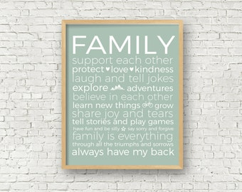 Family Subway Art Family Typography Art Print Family Rules Art 8x10 and 11x14 Digital Art Print Family Room Dining Room Instant Download Art