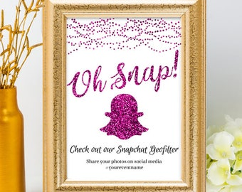 Printable Purple Glitter Look String Lights Geofilter Wedding Event Hashtag Signs, 2 Sizes, Editable PDF, Instant Download