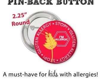 Allergy Alert Button • Gluten Allergy Pin • Allergy Alert • Diaper Bag Pin • Gluten Allergy Button • Allergy Warning Button • Don't Feed Me