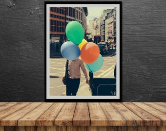 photography, London, poster, print, dreamy, pastel, street photography, baloons, colourful, dreams, wall decor, home decor, 20x30, 30x40