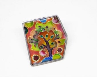 Multi-color Silver Enamel Pin Brooch, Tree of Life Brooch, Sterling Silver Statement Jewelry, Enamel Brooch,  Free Shipping, Gift for her