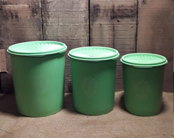 Vintage Green Tupperware Nesting Containers Canisters / Servalier / 1970's