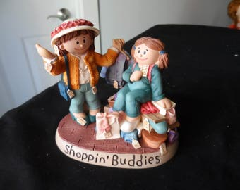 "REDUCED  Gift for Friend, Shopping Buddy  Zingle Berry Figurine ""Shoppin' Buddies""  in Original Box  All Occasion Gift 1247"