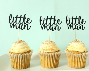 Little Man Cupcake Toppers - Little Man Party Decor - Baby Shower Cupcake Toppers - Mustache Party Decor - Boy Birthday Party Decor