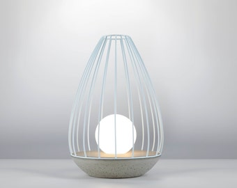 OVA Table Lamp series Model Flame/ Concrete and cage lamp