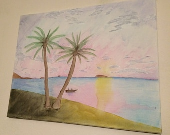 Sunset Beach in watercolor On Canvas 11x14