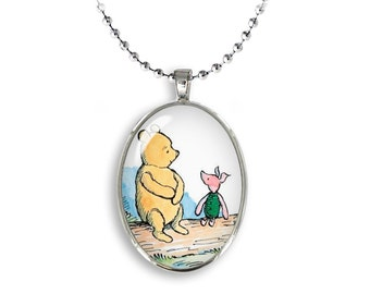 Winnie the Pooh and Piglet Oval Pendant Winnie Piglet Necklace Winnie Pooh Jewelry Friendship Gift