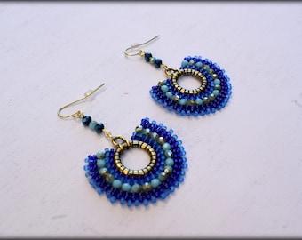 Blue Earrings,Beaded Hoop Earrings,Small hoop Earrings,seed bead earrings,dangle earrings,Gift for her,Nickel free,Spring Jewelry