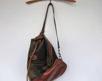 LONGCHAMP Paris suede Vintage Sweden 1980 khaki Nubuck leather bucket bag.