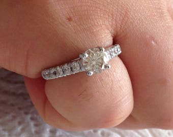 Certified 1.15 CT Round cut Diamond engagement Ring 14k white gold  hand made